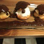 Chouquettes Glace Vanille, Coco, Citron sauce choco chaude